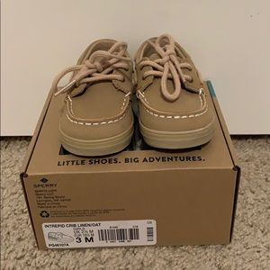 Infant Sperry crib shoes, size 3M (6-9 months).